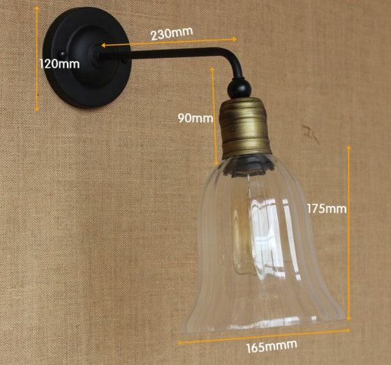 Edison Loft Vintage Wall Lamp Glass Lampshade LED Stair Light Industrial Wall Sconce Arandelas Lamparas De Pared