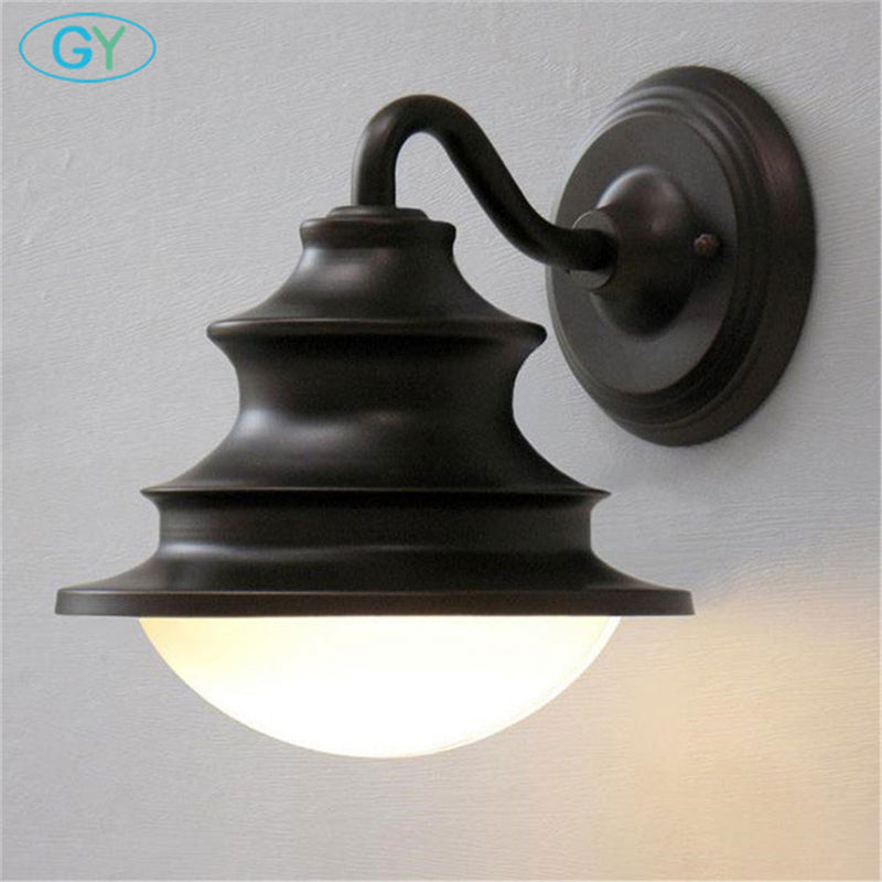 European American antique vintage outdoor wall lamp lighting Rustic wrought iron balcony porch outdoor garden Fences lights