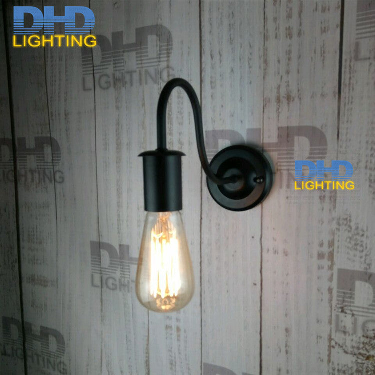 Free shipping black finished DIY simple beside light vintage iron sconce industrial iron lamp holder wall lamp fixture