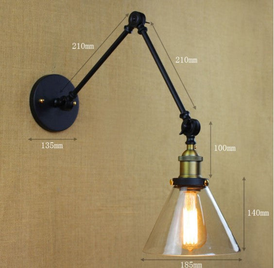IWHD Loft Style Edison LED Wall Light Glass Lampshade Swing Long Arm Vintage Wall Lamp Sconce Lampara Pared