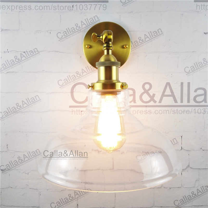 Industrial Vintage Wall Sconce glass shade loft Wall Lamp light fixture antique brass E27 AC 110V/220V edison retro wall light