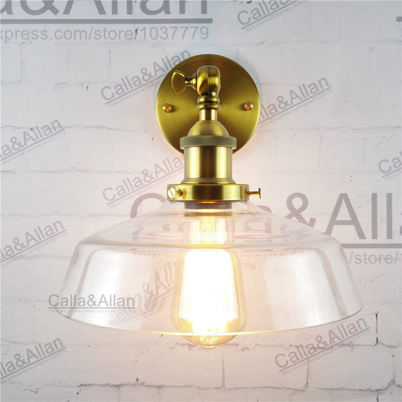 Industrial Vintage Wall Sconce glass shade loft american Wall Lamp fixture antique brass edison E27 retro wall lighting