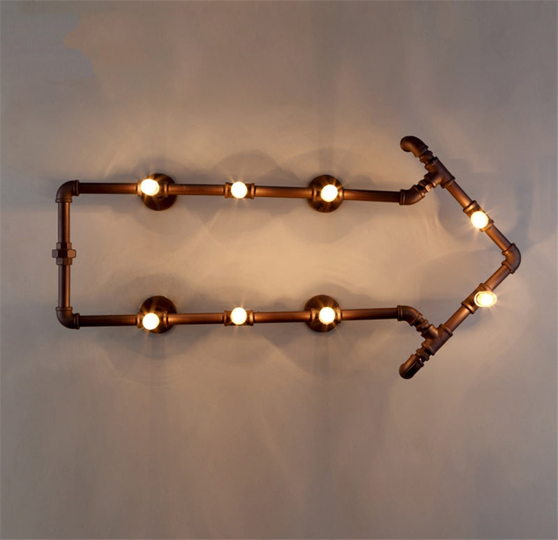 JW_Loft American Decor Rust Water Pipe Wall Lamps LED E27 Retro Industrial Corridor Balcony Arrow Lights Bedroom Living Room