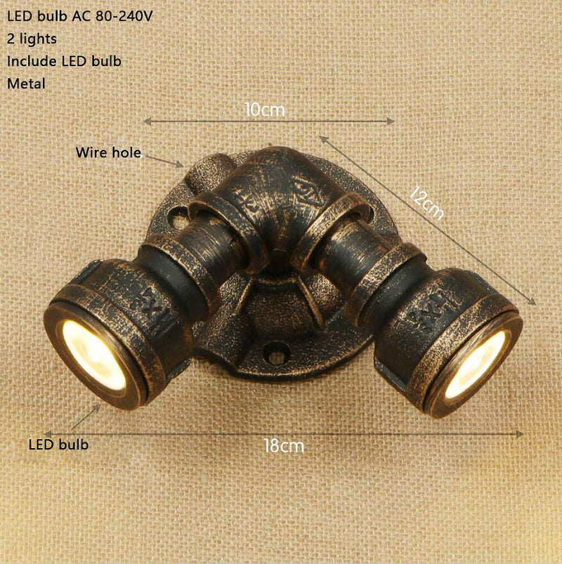 LED Loft Industrial 2 lights iron rust Water pipe retro wall lamp Vintage sconce lights for bedroom restaurant bar bathroom