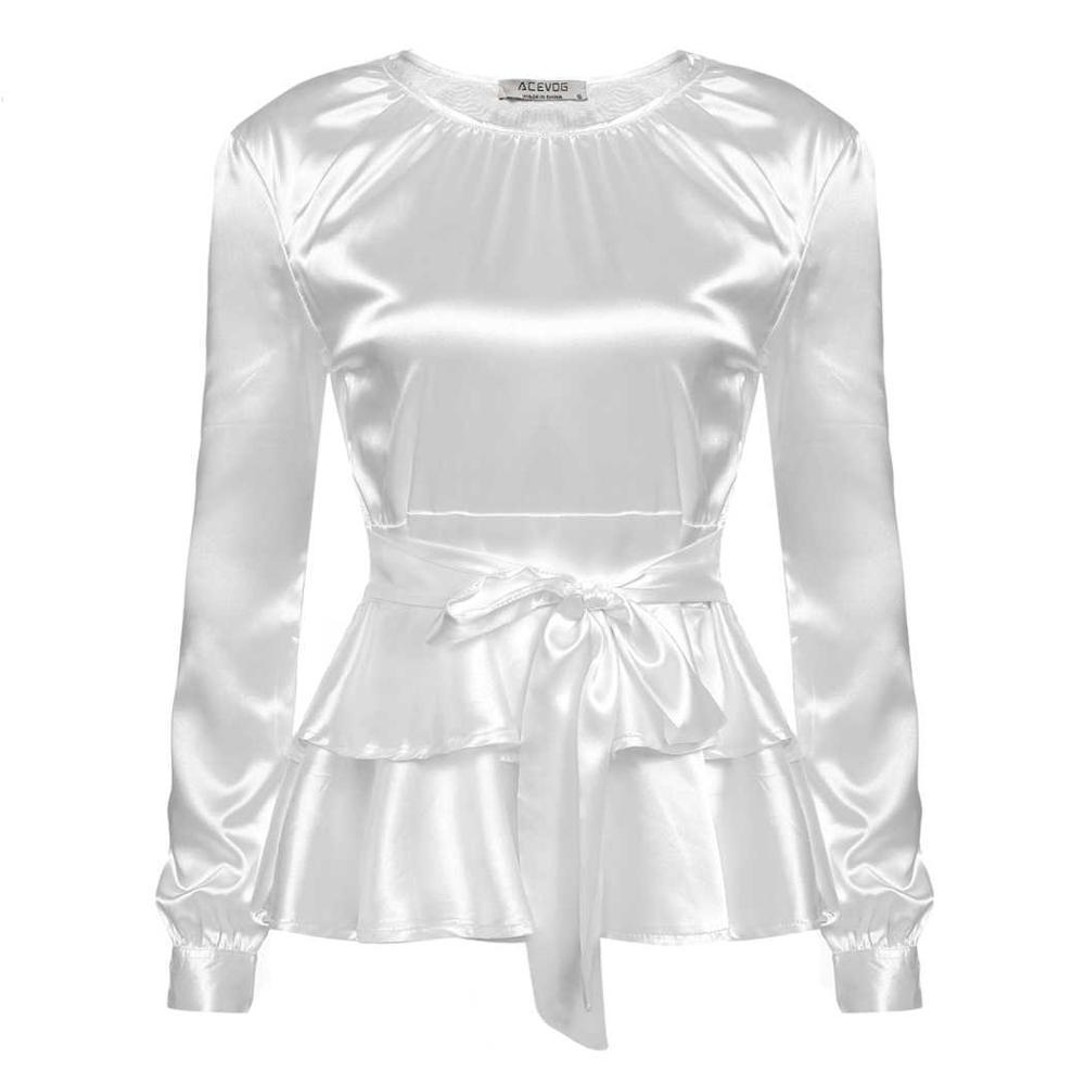 bbe253b370ce5d LETEOO Ruffles Long Sleeve Silk Blouse Ladies Tops Casual Bow Tie Satin  Blouse Women Blouses White