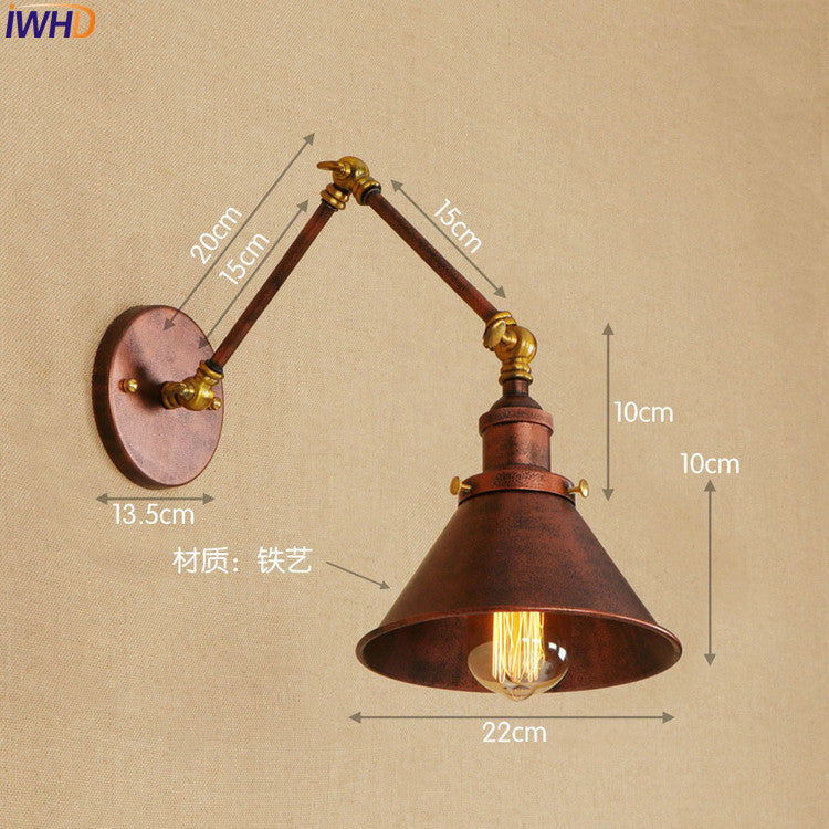 Loft Industrial Vintage Wall Lamps Edison Style Lighting Adjustable Long Arm Rustic Wall Sconces Arandela LED Stair Light