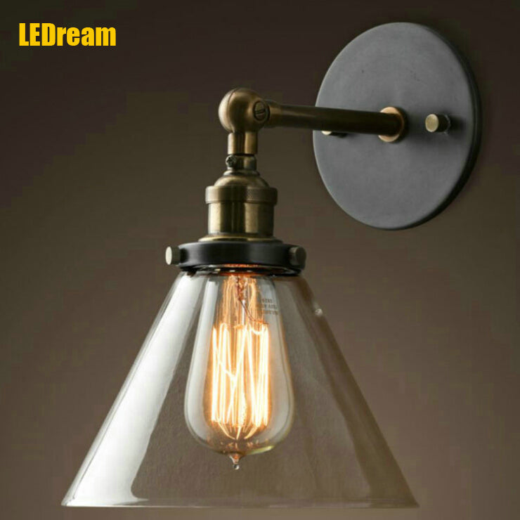 Loft Industrial Wall Lamps Vintage Bedside Wall Light Clear Glass Lampshade E27 Edison Bulbs 110V/220V