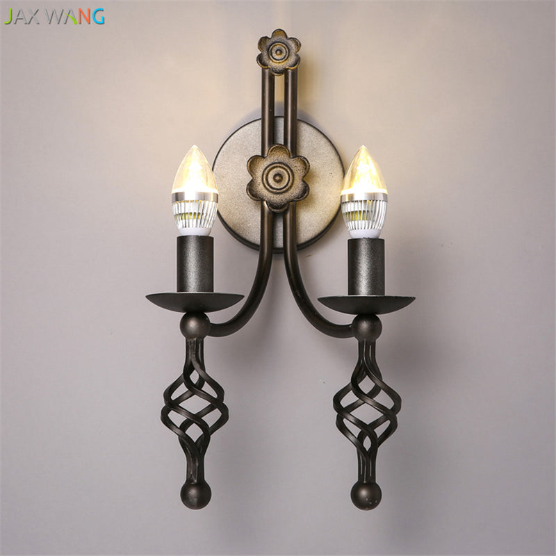 Loft Retro Bedroom Restaurant LED Wall Lamps Bedside Iron Candle Lighting American Vintage Double Head Hanging Lights Fixtures