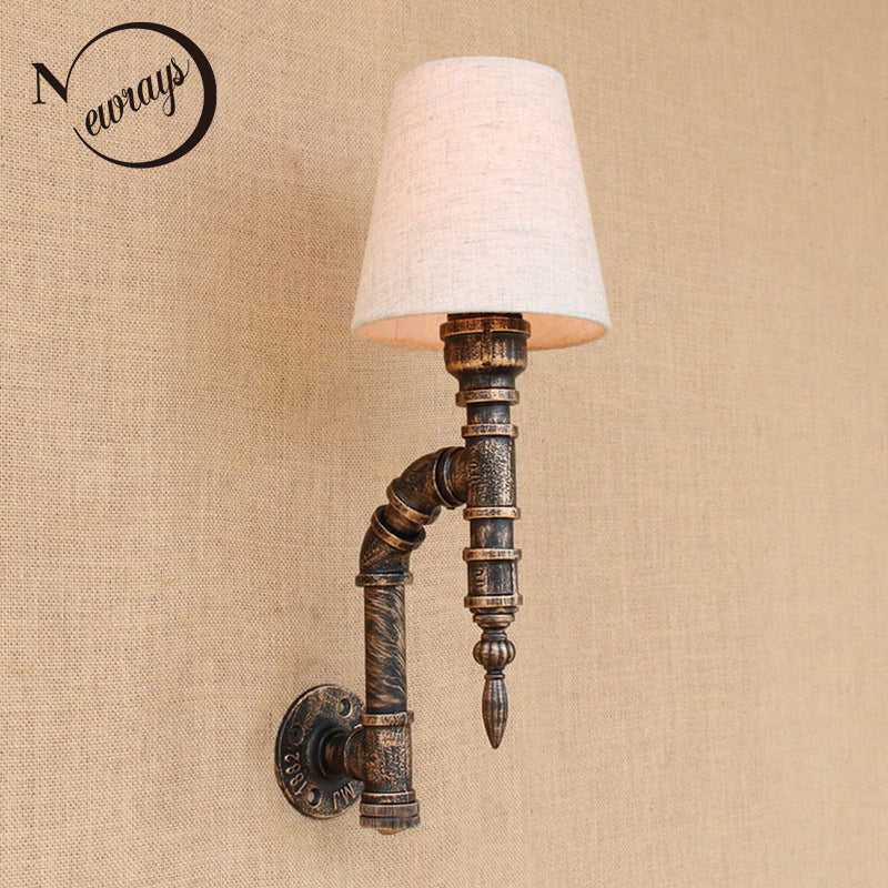 Loft iron Water pipe fabric lampshade wall lamp bedside with switch E27 LED wall lights for bedside living room bar living room