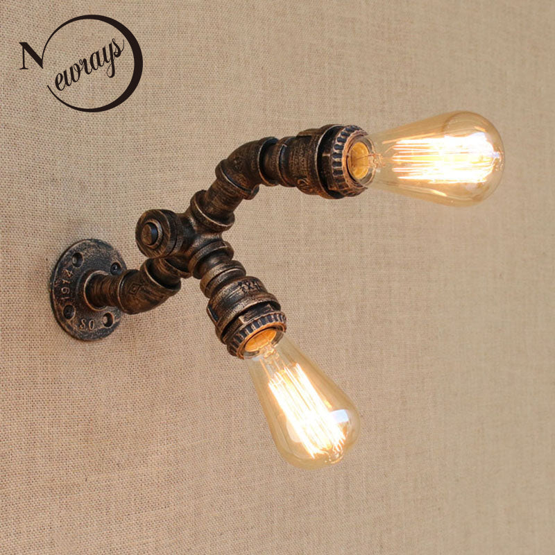 Loft nordic Retro vintage Steampunk Pipe Wall Lights with switch 2 lights E27 LED wall lamp for bedroom bathroom living room bar