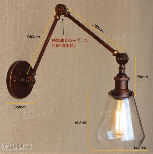 Long Swing Arm Retro Wall Light Fixtures Glass Edison Rustic Loft Style Industrial Wall Lamp Vintage Wandlampen Lampara Pared