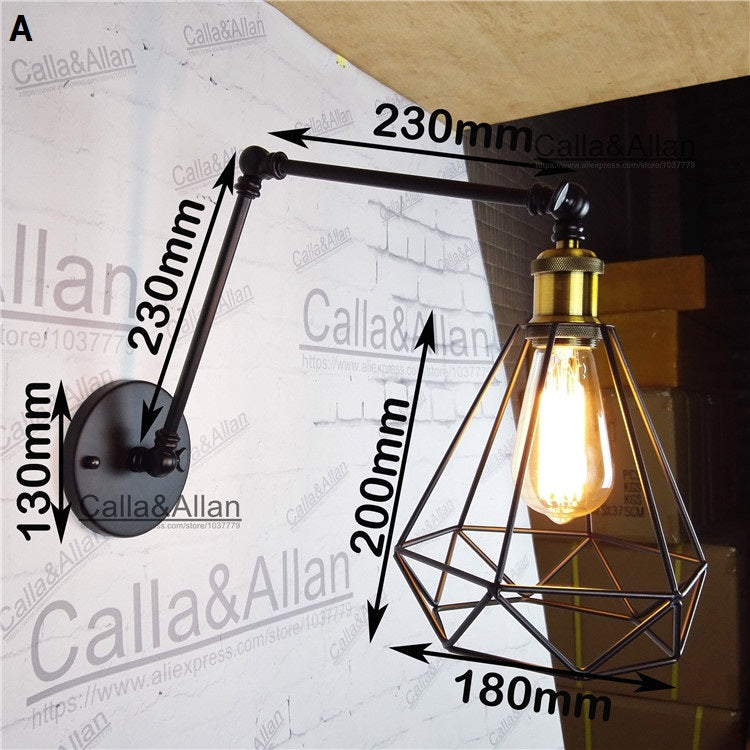 Long Swing Arm adjustable Wall Lamp vintage loft diamond cage shade E27 reading wall lighting sconce for workroom bedroom light