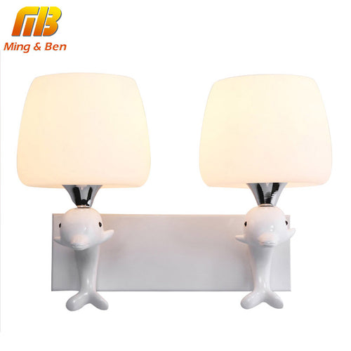 [MingBen] Indoor Light Wall Lamps Modern For Bedroom Living Room Without Light Bulb E14 Socket Unique Dolphin Cartoon AC90-260V