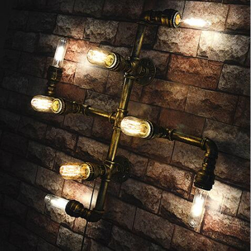 Modern home decoration Loft Style Bedroom Wall Lamp Retro Personalized Water Pipe Bar Coffee Shop Light Edison Bulbs Light
