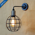 SINFULL ART Black Metal Cage Wall Lamp Long Swing Arm Adjustable Light Home Office Sconce American Industrial Indoor Lighting
