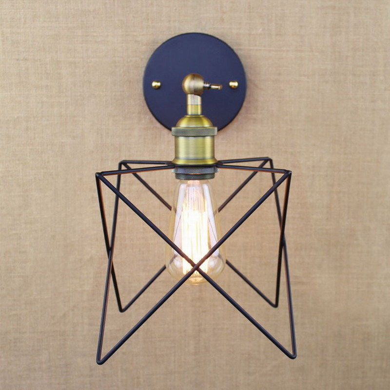 SINFULL ART Industrial Retro Wall Lamp Metal Star Cage Sconce Bedroom Bedside Wall Light American Vintage Home Lighting 85-265V