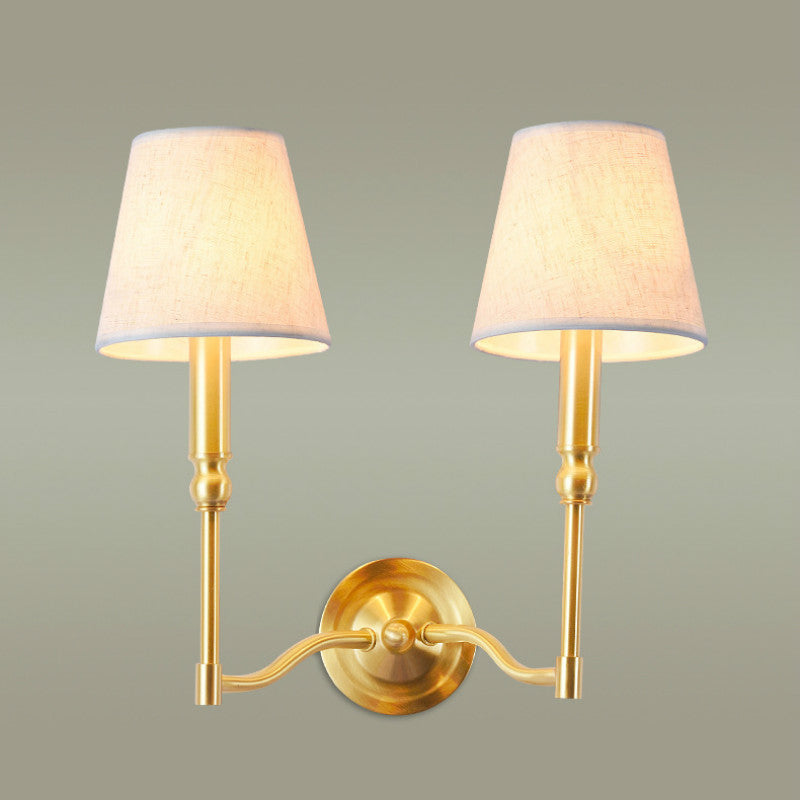 Simple Retro Pastoral American Copper Fabric Led E27*1/2 Heads Wall Lamp For Living Room Bedroom Bedside Aisle Bathroom 1089