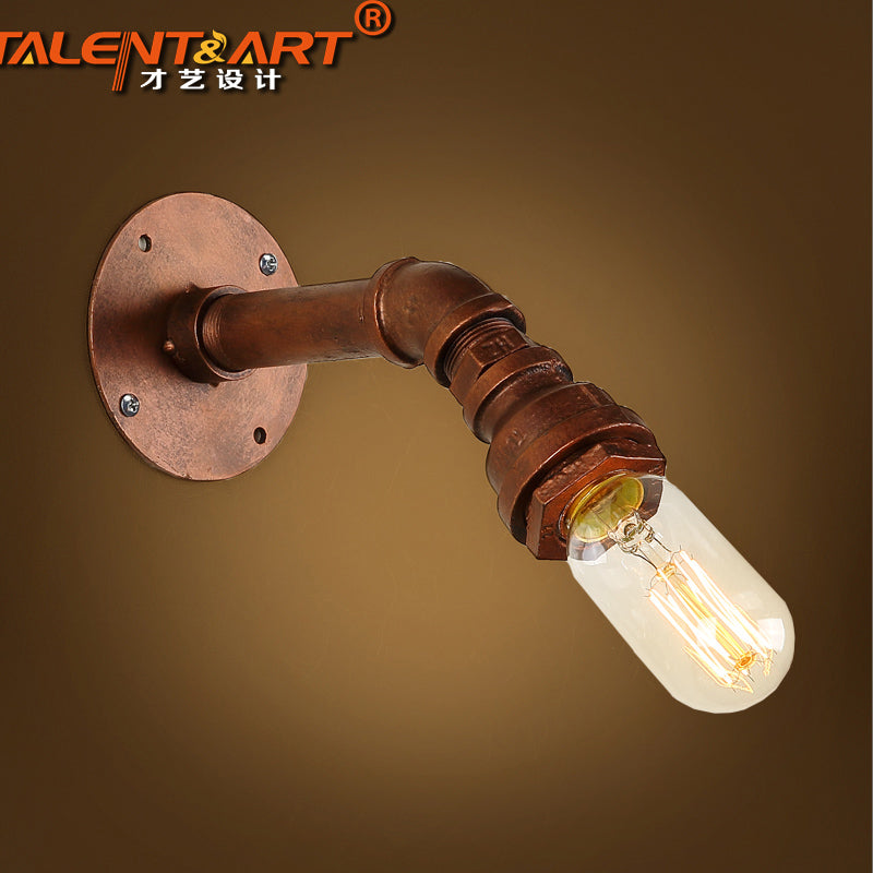 Single Head American Retro Loft Style Water Pipe Wall Lamp Personality Industry Aisle Bar Wall Lamps Free Shipping