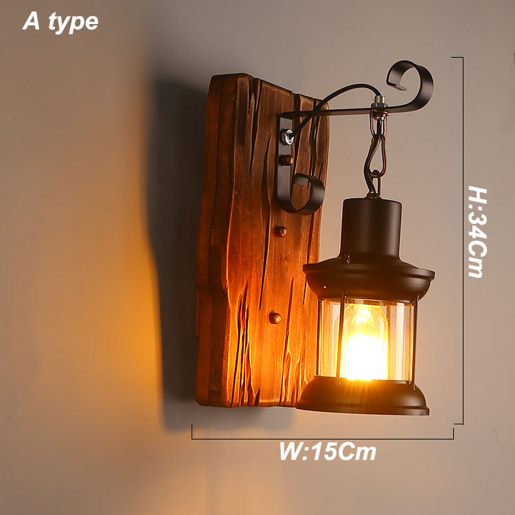Viewi wooden led wall lamp for bedroom for reading bedsied decorative wall-lamp lampe vintage industriel 6 type include bulbs