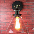 Vintage American Simple Suspension Iron Wall Lights Retro Industrial Style Glass Lights Home Light Single Head Wall Lamps Sconce