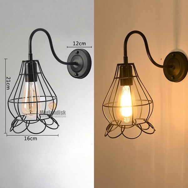 Vintage Industrial Style Decorating Wall Lamp Retro Iron Cages Wall Light Black Metal Wall Scone Loft Bedroom Lightings (BP-50)