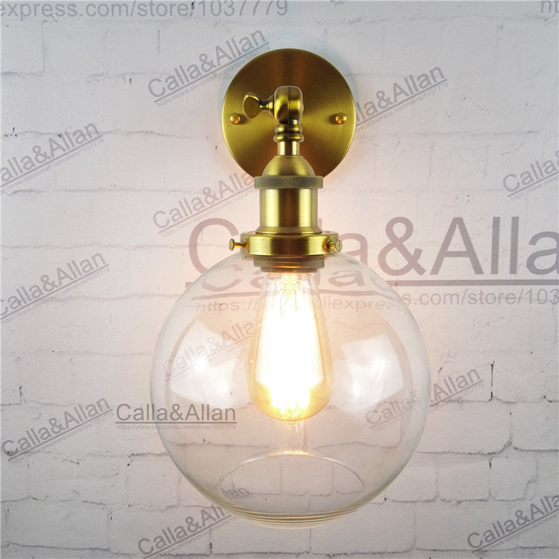 Vintage Industrial Wall Sconce Lighting Round Ball Clear Glass Shade Wall Sconce Antique Brass finish E27 edison wall lamp