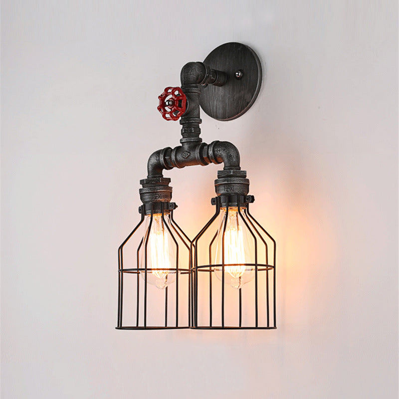 Vintage Iron Wall Lamp Retro Water Pipe Double Caged Loft Industrial Edison Wall Light Mounted Wall Sconce for Home Inn Hotel