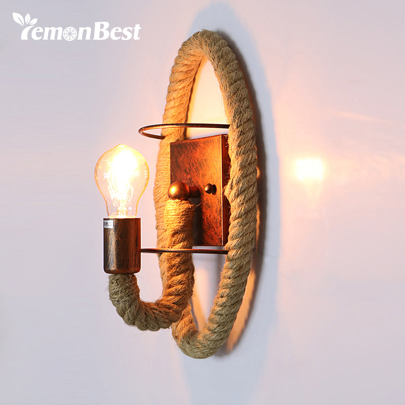 Wall Sconce Vintage Industrial Creative Iron Craft Hemp Rope Wall Light Loft Wall Light with E27 Socket for Living Room Bedroom