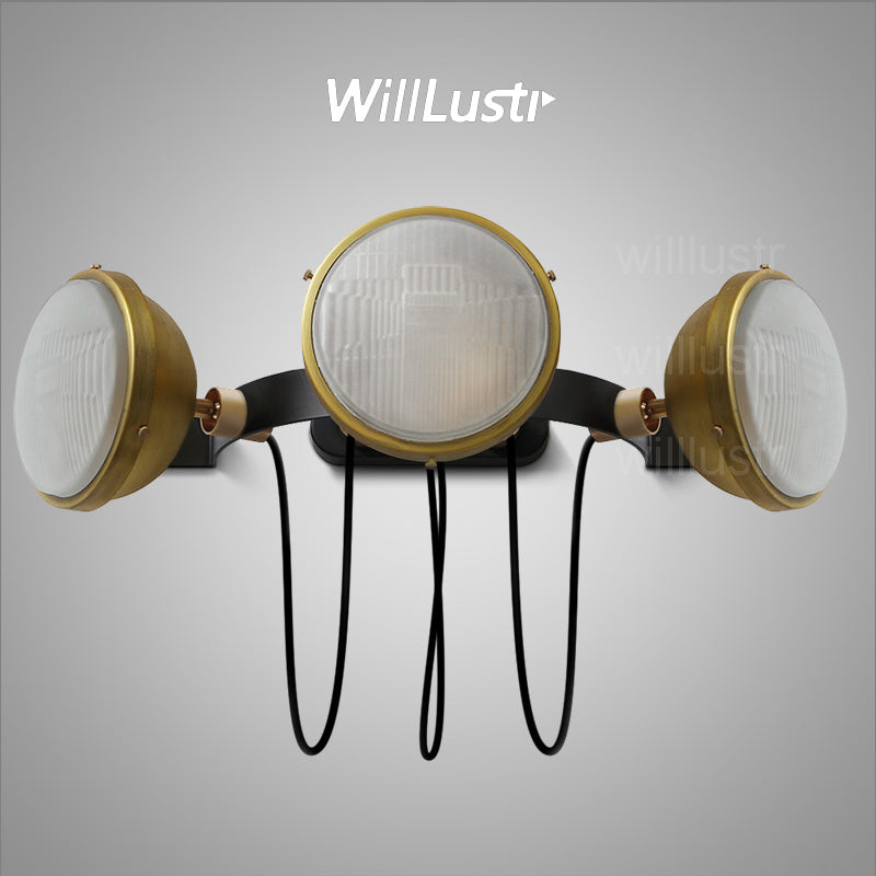 Willlustr bronze lighting fixture vintage iron wall sconce punk motorbike lamp bedside light loft stock cellar basement shop bar