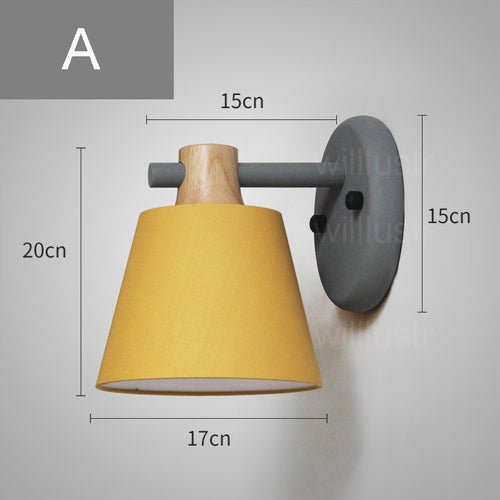 Willlustr macaron color fabric shade wall lamp bedside kitchen hotel restaurant light yellow green oak wood iron arm wall sconce