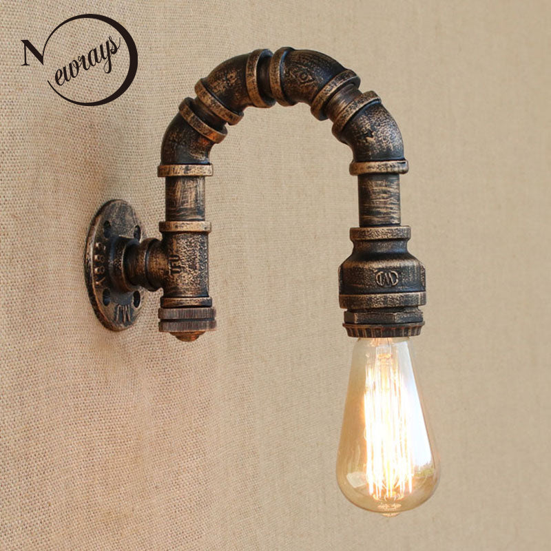 loft iron rust Water pipe retro wall lamp E27 LED sconce wall lights with switch for living room bedroom restaurant bar kitchen