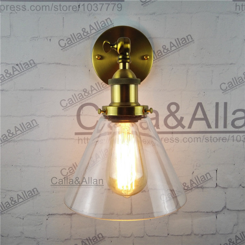 vintage E27 wall Sconce with Funnel Flared Glass Shade Wall lighting Wall Lamp antique brass edison vintage retro wall lamp