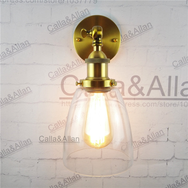 vintage wall Sconce with Oval Cone Glass Shade Wall lighting Wall Lamp antique brass E27 AC 110V/220V edison retro wall lamp
