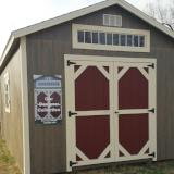 12x20 Designer Collection Shed-Urethane/Transom Window/Driftwood with White Trim/Cranberry doors