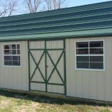 10X16 Side Lofted Barn Metal/ Stone Siding/Green Metal roof & trim