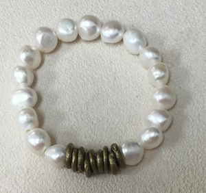 African Brass and Pearl Cuff Bracelet