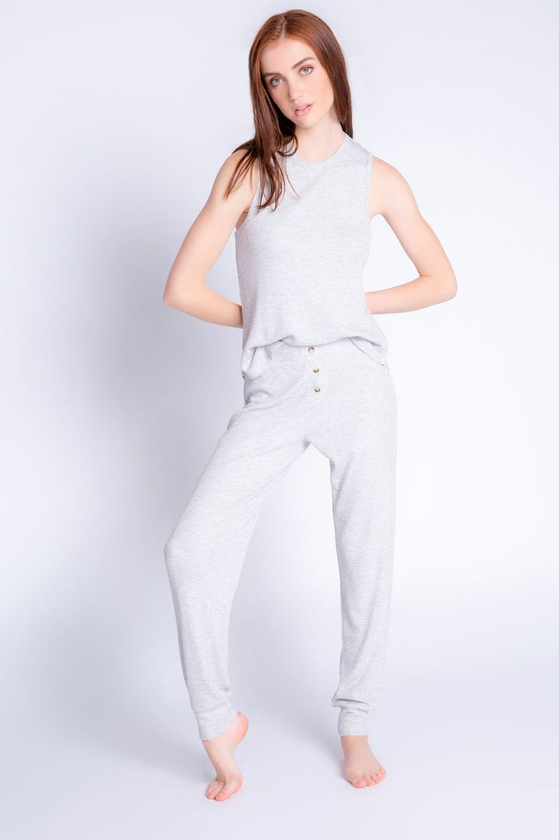 Banded Textured Basic Pant In Heather Grey