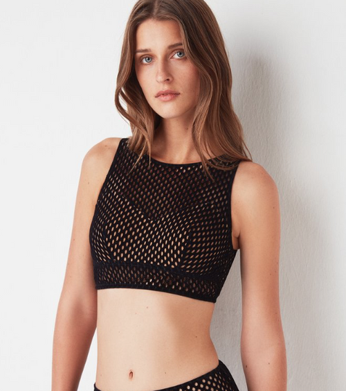 Velvet Cropped Underwire Top