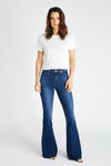 Nina High Rise Flare in Blue Spurs