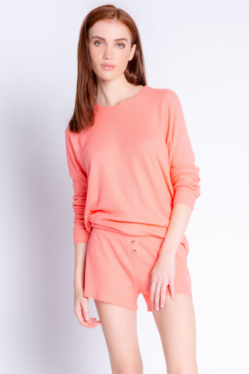Textured Rib Basics Short In Coral
