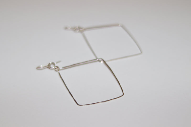 Hammered Sterling Silver Wire Diamond Shape Earrings