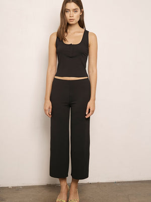 Cropped Rib Pant In Black