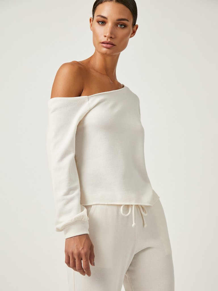 Off Shoulder Pullover In Off White