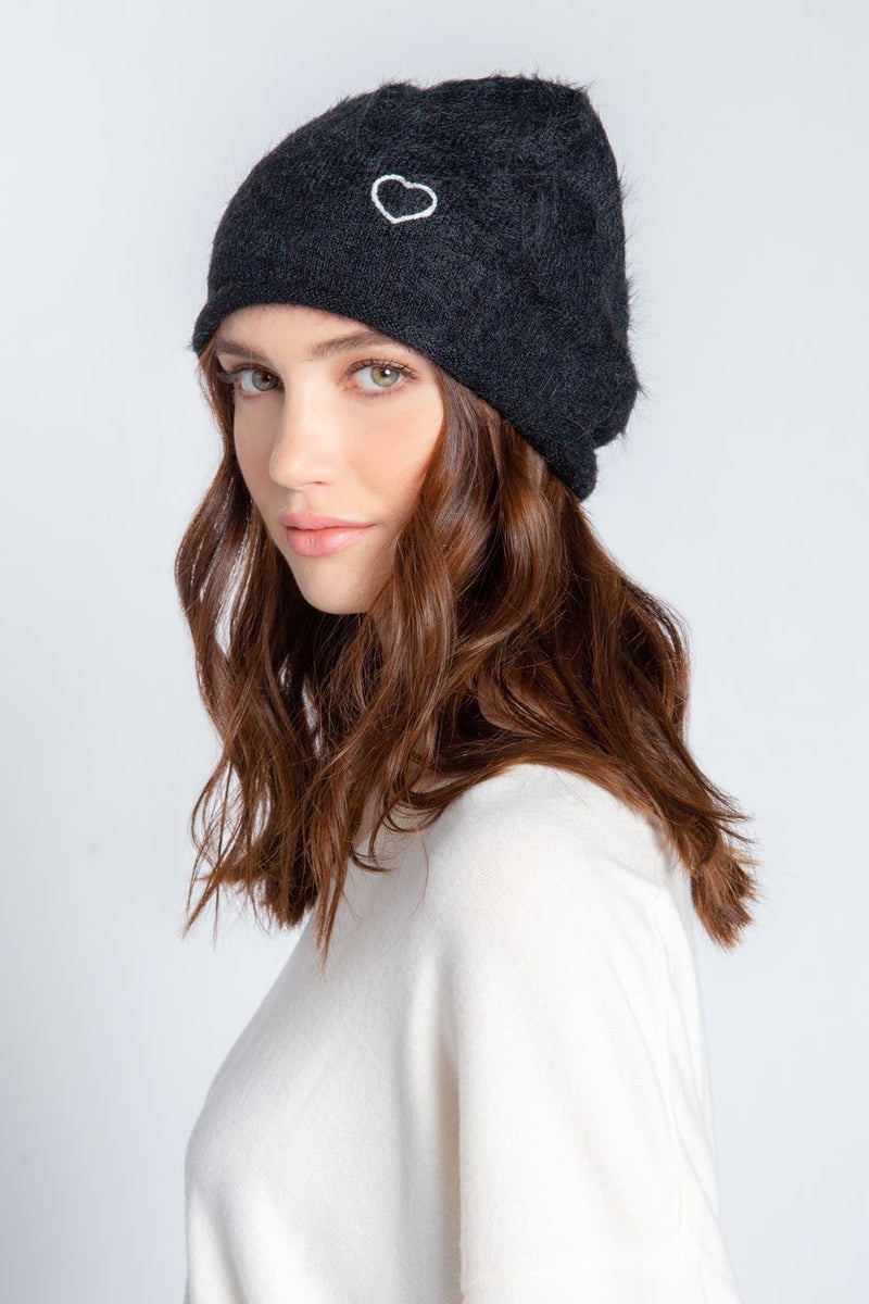 Feather Knit Beanie in Black
