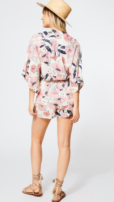 Edith Romper In Ivory Shell Garden Floral