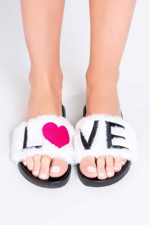 Faux Fur LOVE Slides
