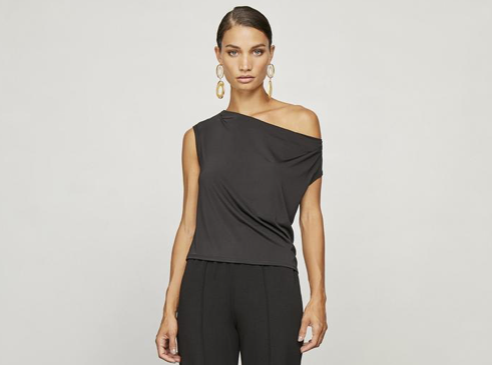 Krisa Pleated Drape Top In Black