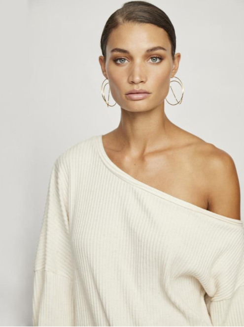 Off Shoulder Long Sleeve In Oatmeal