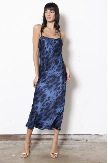 Blue Kitty Stretch Silk Bias Dress