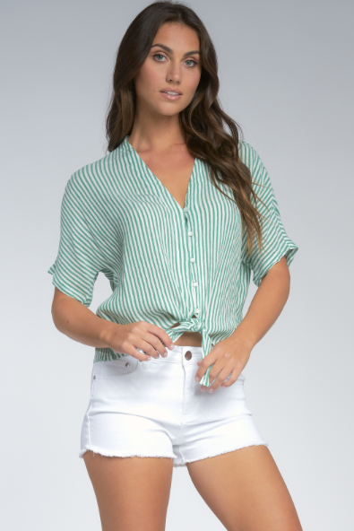 Stripe V-Neck Tied Top -Green